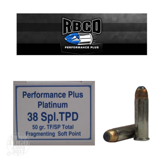 20rds - 38 Special RBCD Performance Plus TPD 50gr. TFSP Ammo