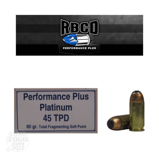 20rds - 45 ACP RBCD Performance Plus Tactical Personal Defence 80gr Total Fragmenting Soft Point Ammo