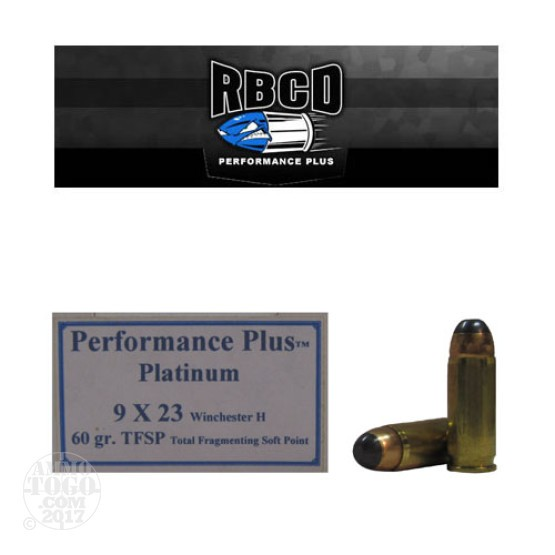 20rds - 9x23 Win. RBCD Performance Plus 60gr. Total Fragmenting Soft Point Ammo