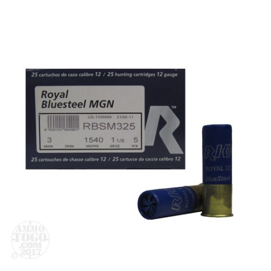 "250rds - 12 Ga. Rio Royal BlueSteel 3"" 1 1/8oz #5 Steel Shot Ammo"