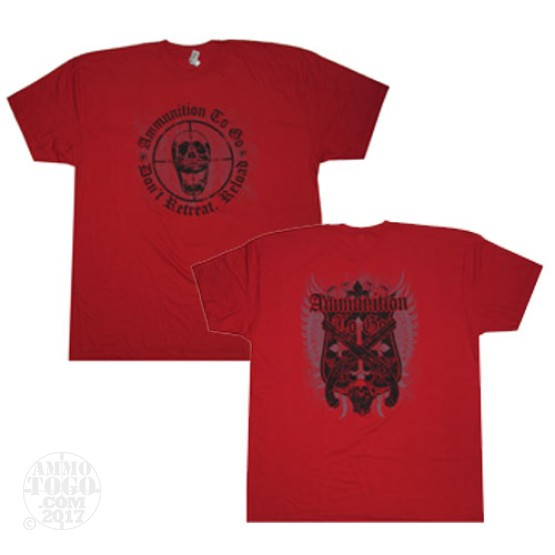 "1 - Red Ammo To Go Skull ""Don't Retreat. Reload"" T-Shirt (X-Large)"