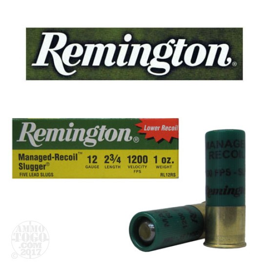 "100rds - 12 Gauge Remington Managed Recoil Slugger 2 3/4""  1oz. Rifled Slug Ammo"