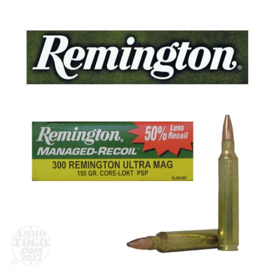 20rds - 300 RUM Remington Core-Lokt Managed Recoil 150gr. PSP Ammo