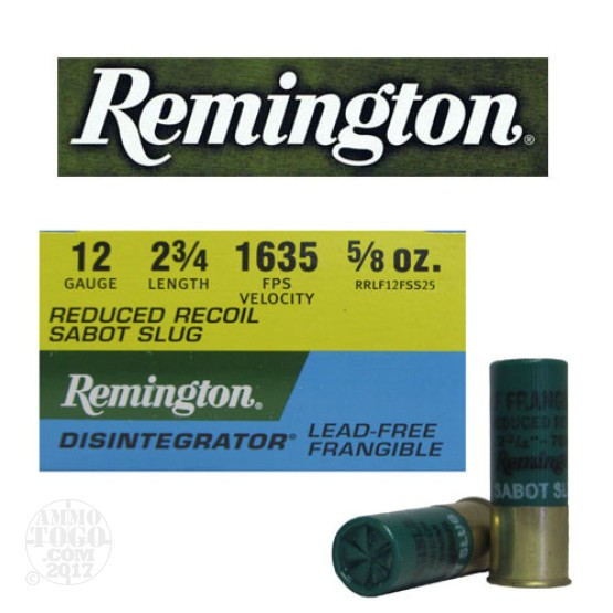 "25rds - 12 Gauge Remington Disintegrator 2 3/4"" 5/8oz. Reduced Recoil Lead Free Frangible Sabot Slug"