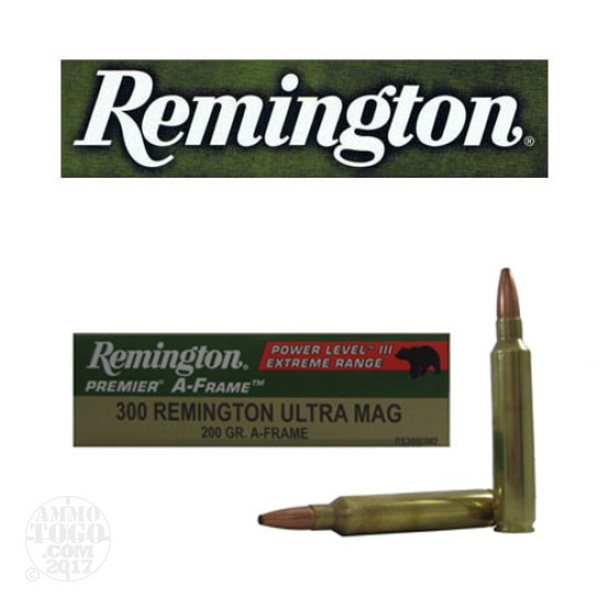 20rds - 300 RUM Remington Premier 200gr. A-Frame PSP Power Level 3 Ammo