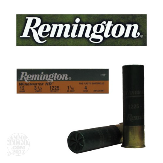 "100rds - 12 Gauge Remington Wingmaster HD Magnum 3 1/2""  1 7/8oz. #4 Shot Ammo"