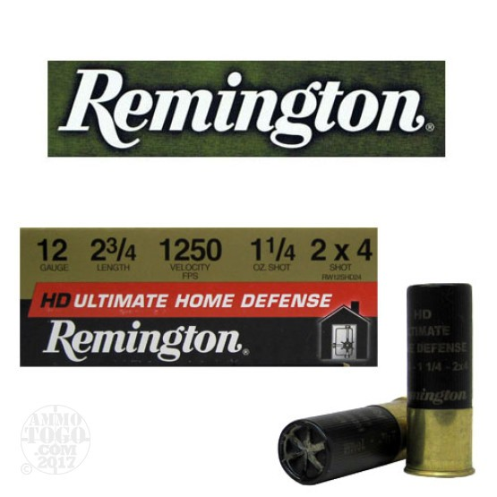 "10rds - 12 Gauge Remington Ultimate Home Defense 2 3/4""  2 X 4 Shot Ammo"