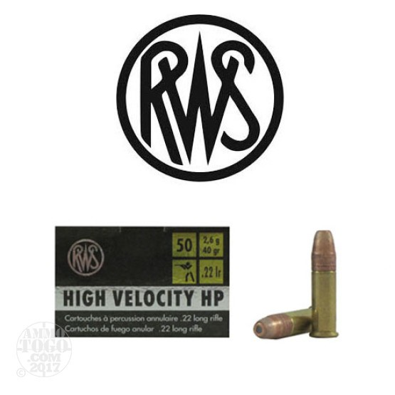50rds - 22LR RWS High Velocity 40gr. Hollow Point Ammo