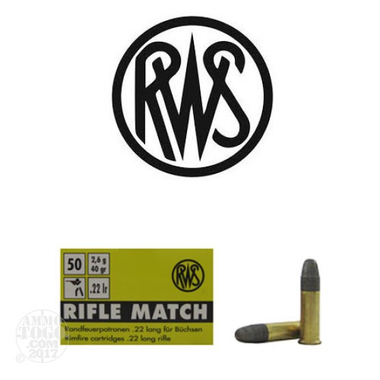 50rds - 22LR RWS Rifle Match 40gr. Solid Point Ammo