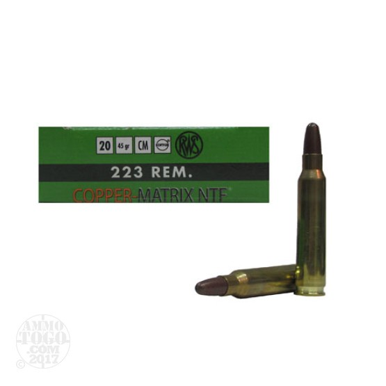 100rds - 223 RWS Copper Matrix NTF 37gr. Frangible Ammo