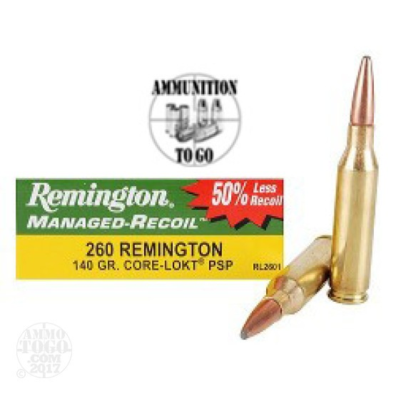 200rds - 260 Remington 140gr Core-Lokt PSP Managed Recoil Ammo