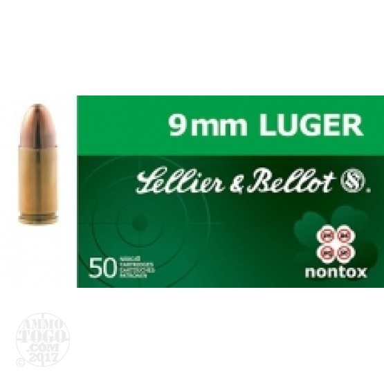 50rds - 9mm Sellier & Bellot 124gr TFMJ NonTox Ammo
