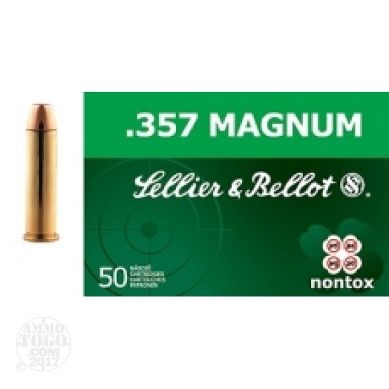 50rds - 357 Mag Sellier & Bellot 158gr TFMJ Non-Toxic Ammo