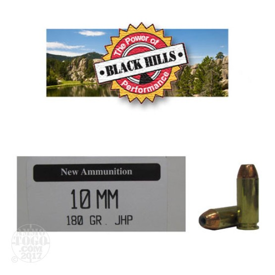 50rds - 10mm Black Hills 180gr. New Seconds JHP Ammo