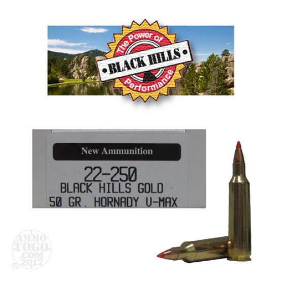 20rds - 22-250 Black Hills Gold 50gr. New Seconds V-Max Polymer Tip Ammo