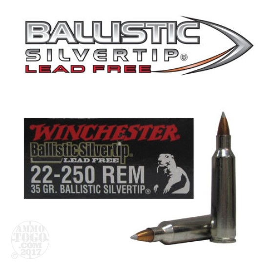 20rds - 22-250 Rem Winchester 35gr. Supreme Ballistic Silvertip Lead Free Ammo