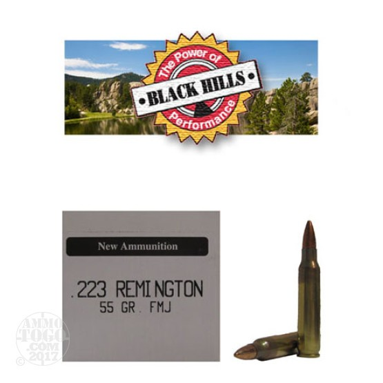 50rds - .223 Black Hills 55gr. New Seconds Full Metal Jacket Ammo