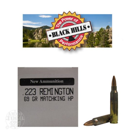 500rds - 223 Black Hills 69gr. New Seconds Sierra MatchKing HP Ammo