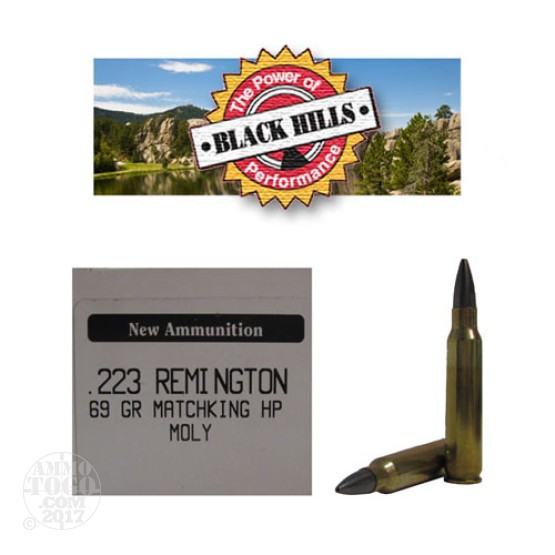 50rds - 223 Black Hills 69gr. New Seconds Sierra MatchKing HP Moly Ammo