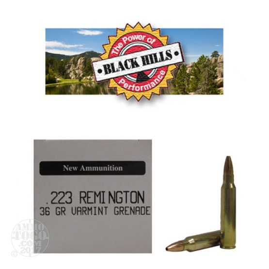 50rds - 223 Black Hills 36gr. New Seconds Varmint Grenade HP Ammo