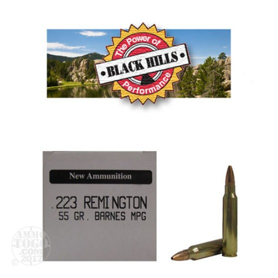 50rds - 223 Black Hills 55gr. New Seconds Barnes MPG HP Ammo