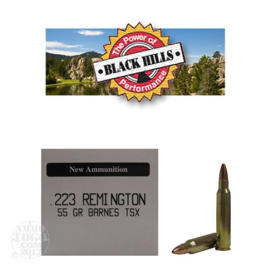 50rds - 223 Black Hills 55gr. New Seconds Barnes TSX HP Ammo