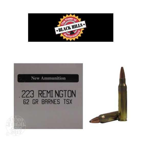50rds - 223 Black Hills 62gr. New Seconds Barnes TSX HP Ammo