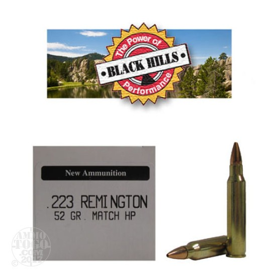 500rds - 223 Black Hills 52gr. New Seconds Match HP Ammo