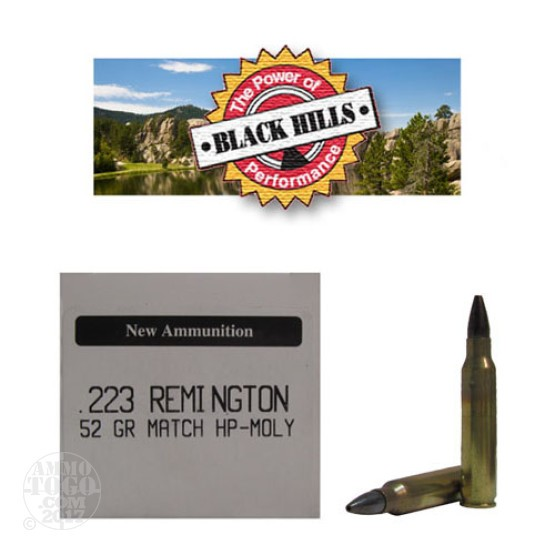 50rds - 223 Black Hills 52gr. New Seconds Match Hollow Point Moly Ammo
