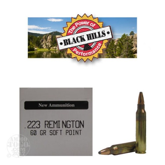 500rds - 223 Black Hills 60gr. New Seconds Soft Point Ammo