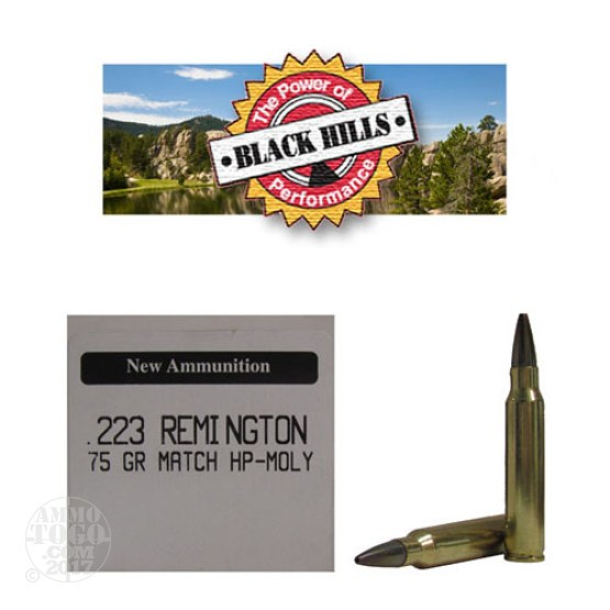50rds - 223 Black Hills 75gr. New Seconds Heavy Match HP Moly Ammo