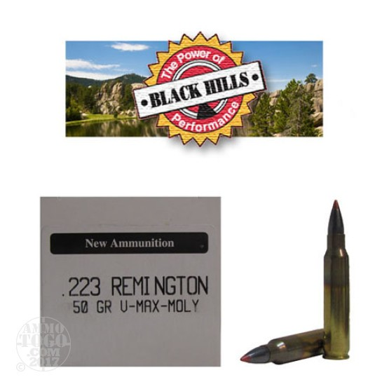 50rds - 223 Black Hills 50gr. New Seconds V-Max Polymer Tip Moly Ammo