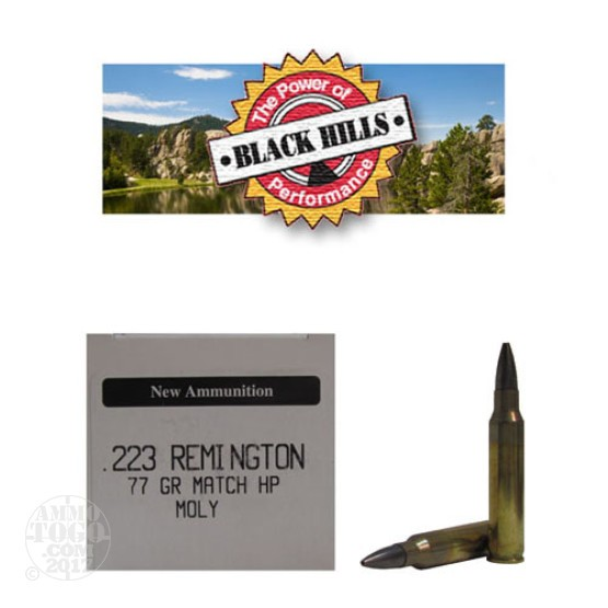 50rds - 223 Black Hills 77gr. New Seconds Sierra MatchKing HP Moly Ammo