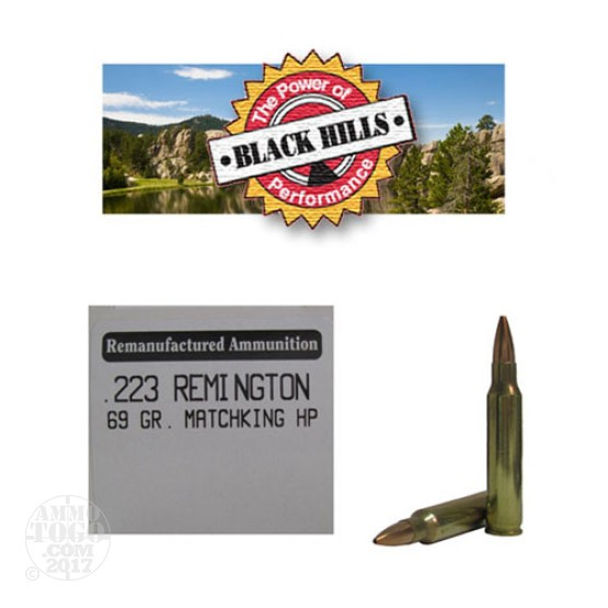 50rds - 223 Black Hills 69gr. Remanufactured Seconds Sierra MatchKing HP Ammo
