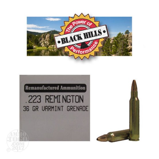 50rds - 223 Black Hills 36gr. Remanufactured Seconds Varmint Grenade HP Ammo