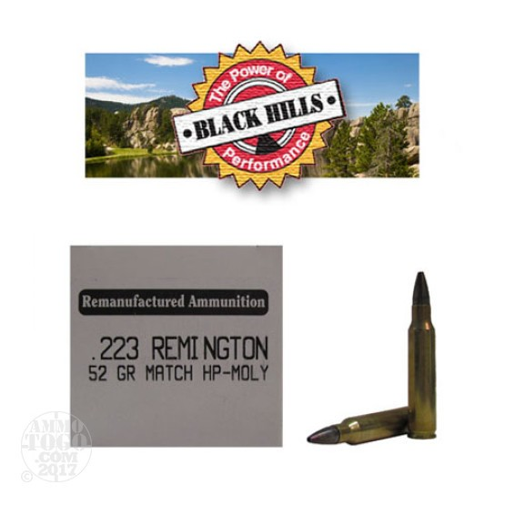 50rds - 223 Black Hills 52gr. Remanufactured Seconds Match HP Moly Ammo