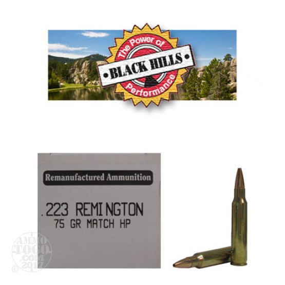 50rds - 223 Black Hills 75gr. Remanufactured Seconds Heavy Match HP Ammo