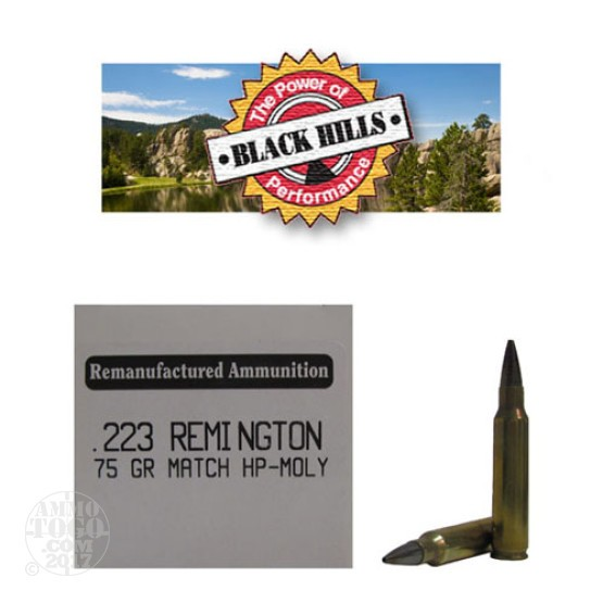 50rds - 223 Black Hills 75gr. Remanufactured Seconds Heavy Match HP Moly Ammo