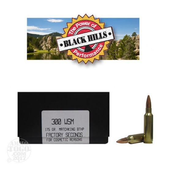 20rds - 300 WSM Black Hills Gold 175gr. New Seconds Matchking BTHP Ammo