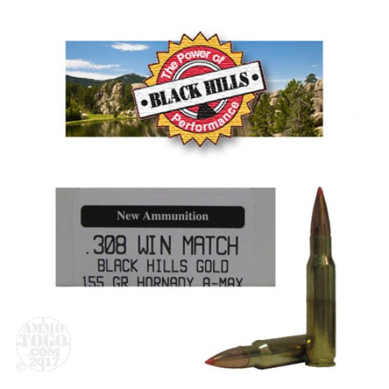 20rds - 308 Win Black Hills Gold 155gr. New Seconds A-Max Polymer Tip Ammo