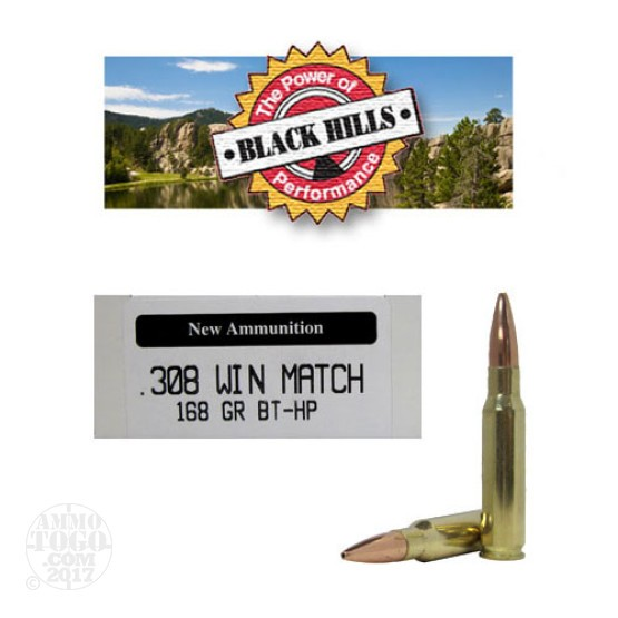 200rds - 308 Black Hills Seconds 168gr. Match Boat Tail Hollow Point Ammo