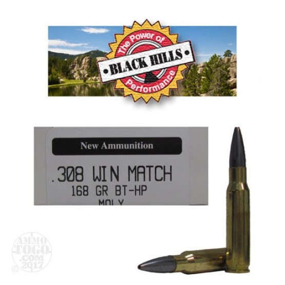 20rds - 308 Black Hills 168gr. New Seconds Match BT - HP Moly Ammo