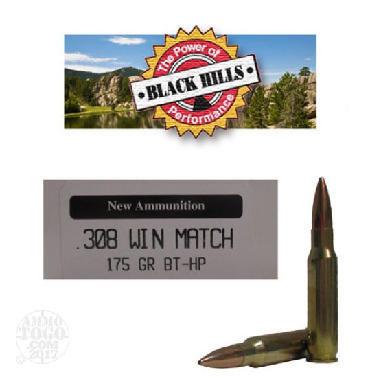 20rds - 308 Black Hills 175gr. New Seconds Match BT - HP Ammo