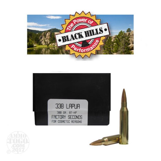20rds - 338 Lapua Black Hills 300gr. New Seconds BTHP Ammo