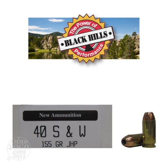 50rds - 40 S&W Black Hills 155gr. New Seconds JHP Ammo