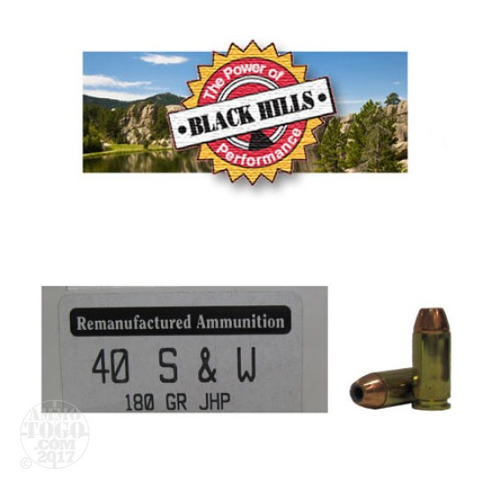 50rds - 40 S&W Black Hills 180gr. Reman Seconds JHP Ammo