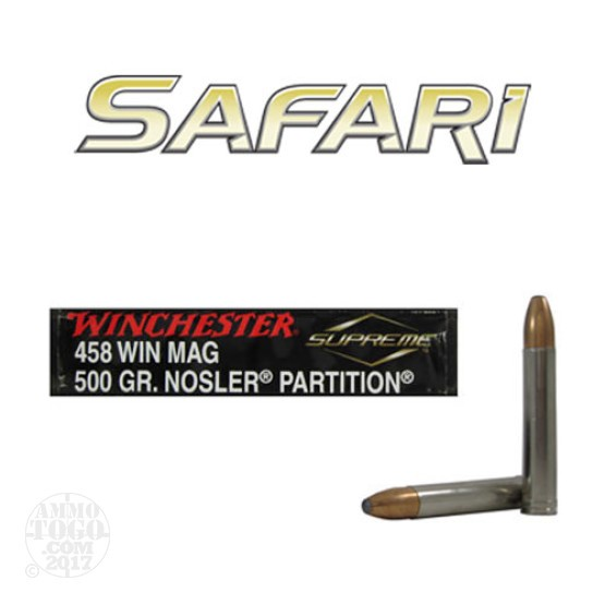 20rds - 458 Win. Mag. Winchester Supreme 500gr. Nosler Partition Ammo