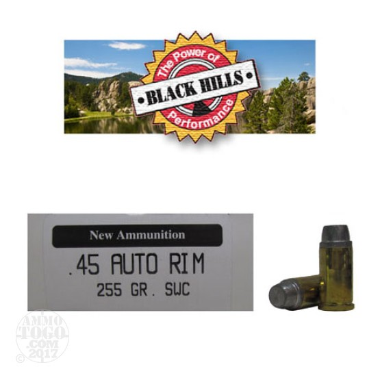 50rds - 45 AUTO RIM Black Hills 255gr. New Seconds SWC Ammo