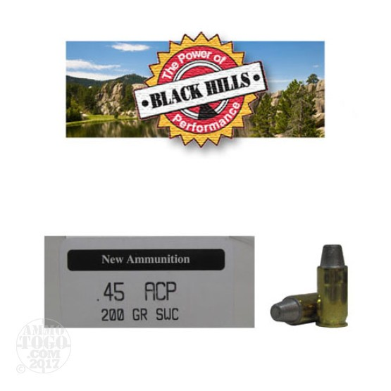 50rds - 45 ACP Black Hills 200gr. New Seconds SWC Ammo