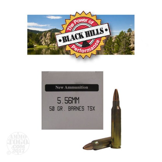 50rds - 5.56 Nato Black Hills New Seconds Barnes TSX 50gr. HP Ammo